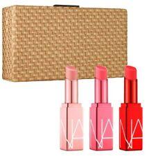 NIB, NARS, Sur La Plage Full Size Lip Balm Set & Woven Cosmetics Clutch