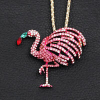 Betsey Johnson Pink Crystal Cute Flamingo Bird Pendant Chain Necklace/Brooch Pin