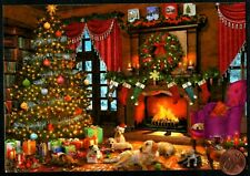 Christmas Puppy Dogs Tree Fireplace Stockings Hanging Christmas Greeting Card