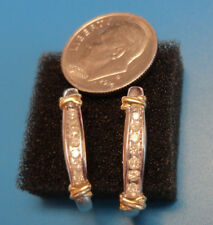 10k white gold earrings with yellow gold and diamond accents, not scrap, 3.25g