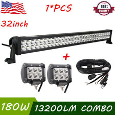 32Inch 180W Led Work Light Bar Combo Boat Ford+2X18W 4inch Lights+Wiring Harness