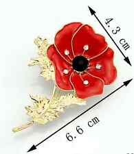 lovely Red Remembrance Poppy Brooch Pin Banquet Crystal Badge Gold Flower Gift