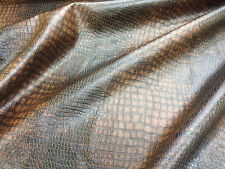 Brown Snakeskin Effect Rayon Backed Faux Leather Fabric.