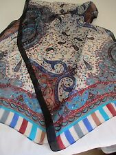 GORGEOUS BNIP BLACK BEIGE CREWEL & PAISLEY PRINT PURE SILK SCARF MADE IN INDIA