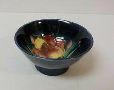 William Moorcroft Art Pottery Cobalt Bowl, Wisteria Plum Decoration