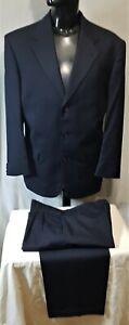 Size 107 FLAIR mens wool rich 3 button suit cuff pleats pants blue work office