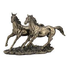 "11"" Sprinting Horses Statue Sculpture Figurine Barn Farm Animal Home Decor"