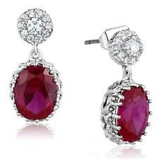 3W653 OVAL RUBY  DANGLE DROP CUT EARRINGS SIMULATED DIAMONDS CLASSY RED