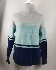 C&C California Turtleneck High Neck Pullover Sweater Stripe Gray Blue Sz M