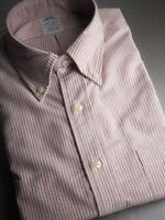 Brooks Brothers Oxford Shirt OCBD Slim Fit - Red Stripe Supima Cotton USA NWT