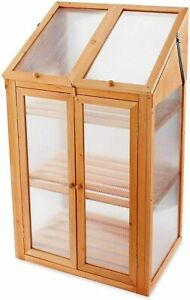 Garden Natural Wooden Poly Carbonate Glazing Mini Greenhouse / Cold Frame