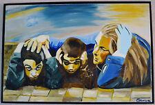 "OFER SAMRA ORIGINAL ACRYLIC PAINTING ""SUMMER 2014 (NO.1)"" SIGNED W/COA FRAMED"