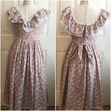 Vintage GUNNE SAX by Jessica McClintock Purple Floral Prairie Dress Lace Collar