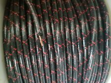 7mm COPPER CORE BRAIDED CLOTH Black with Red tracers SPARK PLUG WIRE DIY foot