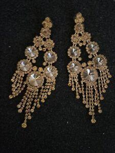"""6"""" Lux Fringe Chandelier Earring Gold Rhinestone Pageant Drag Queen Lot & Clutch"""