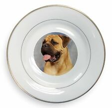 More details for bullmastiff dog gold rim plate in gift box christmas present, ad-bmt1pl