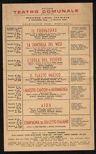 Teatro Comunale Bologna Lirica Cartolina Calendario Spettacoli 1958 1959 Opera