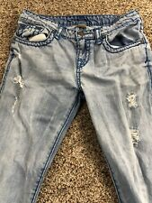 true religion super t geno girls size 20 thick stitch distressed light wash