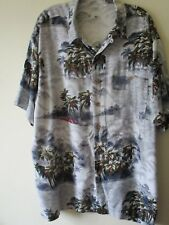 1990s SHIRT HAWAIIAN Dove Grey Palm Trees Vintage Fresh Prince FESTIVAL Sz  L XL