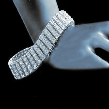 "14k White Gold Finish Mens 4 Row Lab Diamond Simulated Tennis Bracelet 8.5"" New"