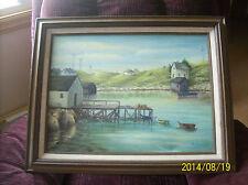 Indian Harbour, Nova Scotis Oil On Canvas Framed Painting Artist H. Vanhorn