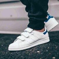adidas Stan Smith UK Size 9 Men's Trainers Originals White Blue No Laces