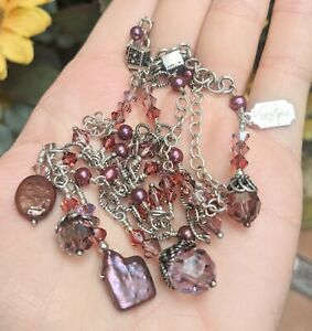 Tres Jolie Sterling Silver 925 Purple Dyed Pearl Crystal Bead Dangle Necklace