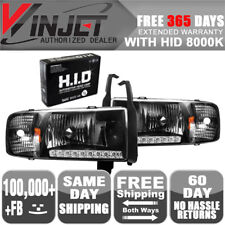 Fit 94-02 Dodge Ram 1500 2500 3500 LED DRL Headlights Black Clear + 8K Xenon HID