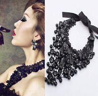 Spitzen Choker Schwarz Gothic Collier Kragen Victorian Halsband Facettensteine