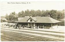 Sidney Ny Union Station Railroad Train Depot Rppc Real Photo Postcard