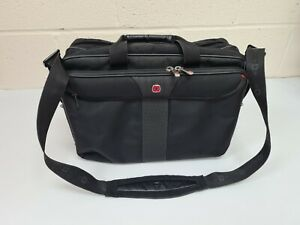 Wenger Black Fabric Laptop Briefcase Bag Case Used Strap Pockets Padded