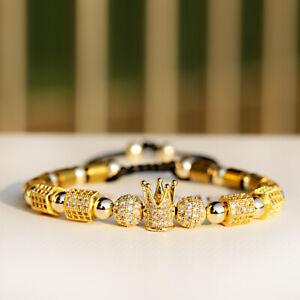 New Men Women Luxury Zircon Ball Crown Copper Beads Braided Macrame Bracelets