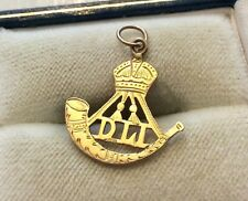 Unusual Rare Stamped Antique 9 Carat Gold Durham Light Infantry Charm Pendant
