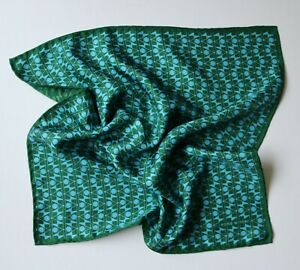 Esme Winter Silk Pocket Square. Green Geometric. Hand rolled border