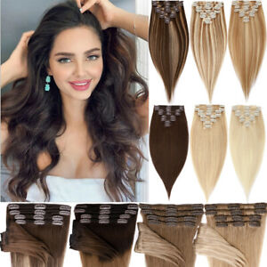 Full Head Clip In HUMAN Hair Extensions 8Pieces Thick Double Weft 100% Remy Hair