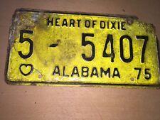 Vintage Antique Classic Car 1975 AL Alabama License Plate Car Tag  Rare 5-5407