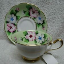 Royal Albert Pink And Blue Flowers Green Background Panel Cup and Saucer