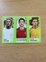 2006 Panini Candy World Cup Sticker Cristiano Ronaldo Beckham Zlatan Ibrahimovic