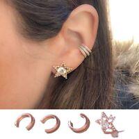 Punk Women Crystal Star Stud Earring Set Ear Cuffs Clip Cartilage Helix HQ