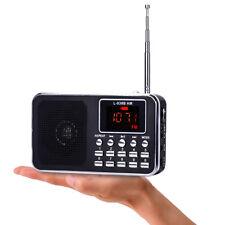 Slim LCD Digital FM/AM Radio MP3 Player MINI Speaker Bass AUX USB TF LED Light
