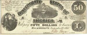 Confederate States $50 Dollars CR-76 Currency Banknote 1861