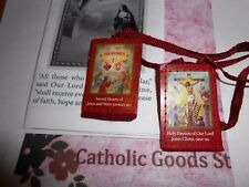 2 inch Red Scapular of the Passion with Instructions -  NEW