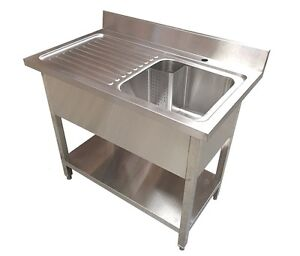 Commercial Stainless Steel Left Hand Drainer Single Bowl Sink 1200x600mm - SALE