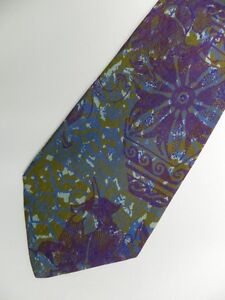"Purple Green Abstract Floral Silk Tie 3.8"" Wide 57"" Long"