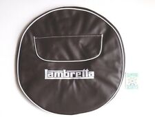 "BROWN SPARE WHEEL COVER - ZIPPED POCKET - 10"" WHEEL- WHITE LAMBRETTA LOGO"