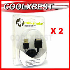 2X NEW MILKSHAKE RETRACTABLE USB CHARGE CABLE 30 PIN iPHONE 4 4S iPOD TOUCH 3 4