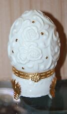 Cream Gold Egg Shape Trinket Box Embossed Flower Candy Container Cottage Easter
