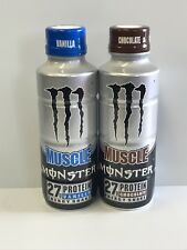 Monster Muscle Energy Shake 15oz Bottles.One Each Chocolate & Vanilla Bottle Lot