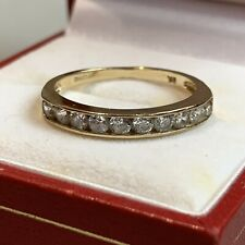 Retro Vintage Style 9ct Gold Half Eternity Channel Set Clear Round 2mm Stones O