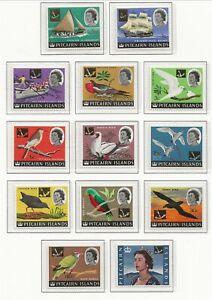 PITCAIRN ISL Sc 72-84 MNH issue of 1967 - OVERPRINTS - BIRDS